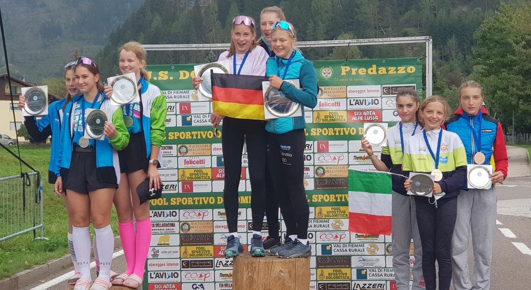 Vola sul podio l'Italia femminile nella combinata nordica agli OPA Games di Predazzo