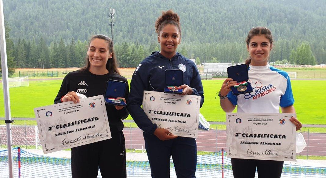 Margaglio e Moscara nuovi campioni italiani estivi di skeleton a Cortina